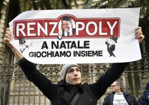 Epargnants italiens ruinés devant la banque d'Italie en plein centre de Rome.