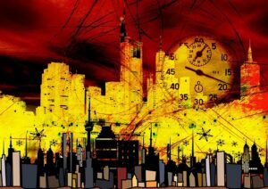 city-skyscrapers-clock-time-stopwatch-seconds