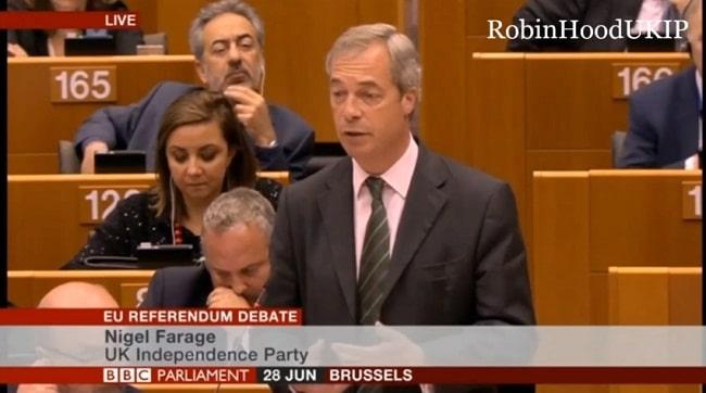 Discours tonitruant de Nigel Farage au parlement européen post Brexit