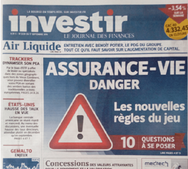 Charles Sannat: La une d'Investir – Assurance vie, danger !