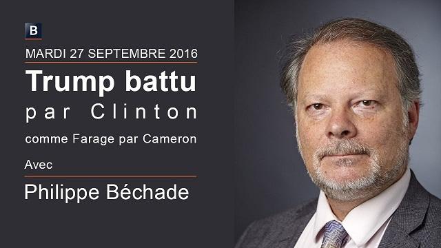 """Philippe Béchade: Séance du Mardi 27 Septembre 2016: """"Trump battu par Clinton comme Farage par Cameron"""""""