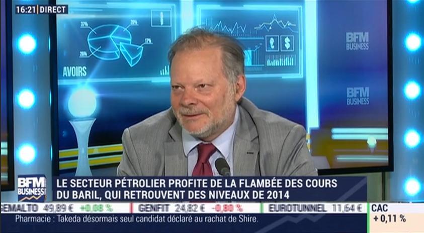 Le secteur pétrolier profite de la flambée des cours du baril, qui retrouvent des niveaux de 2014... Avec Philippe Béchade
