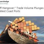 Oups !! Rien ne va plus dans les ports de la côte ouest des États-Unis, le volume des échanges commerciaux plonge !!