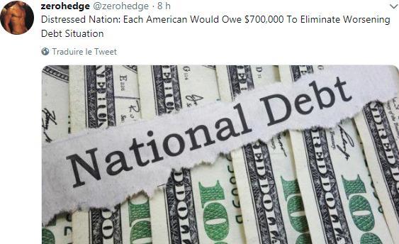 Mission impossible: Chaque contribuable Américain devrait débourser près de 700.000 $ pour rembourser l