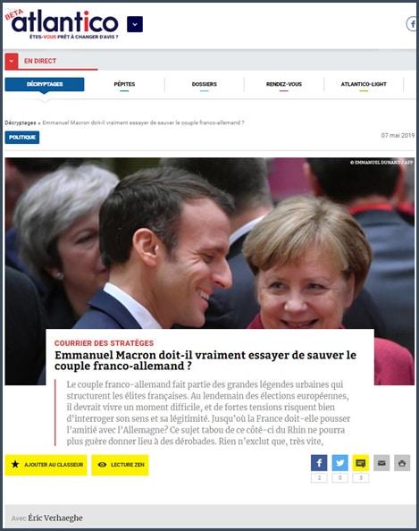 """Nicolas Perrin: """"Union européenne: où en est le « couple franco-allemand » ?"""""""