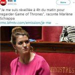 """La France en crise ?… """"Je me suis réveillée à 4h du matin pour regarder Game of Thrones"""", raconte Marlène Schiappa"""