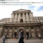 """La Banque d'Angleterre abaisse sa prévision de croissance au 2nd trimestre à """"ZÉRO""""et met en garde contre l'augmentation des risques sur l'économie"""