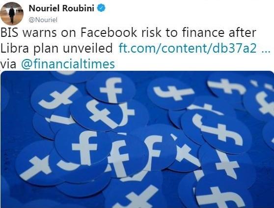 """Nouriel Roubini: """"La BRI avertit des risques que fait peser la Libra de Facebook sur la finance"""""""