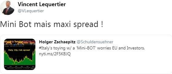 """Vincent Lequertier: Italie: """"Mini Bot mais maxi spread !"""""""