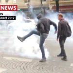 Tensions entre manifestants et forces de l'ordre avenue de Wagram à proximité des Champs-Élysées après le défilé du 14 Juillet