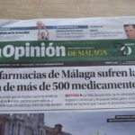 Shortage of medicine in the news headline in Spain