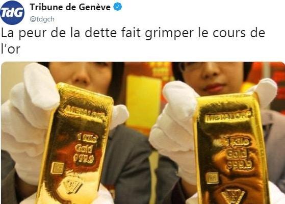 Warning: La peur de la dette fait grimper le cours de l'or...