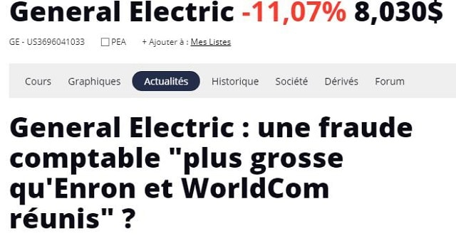 "General Electric: une fraude comptable ""plus grosse qu"