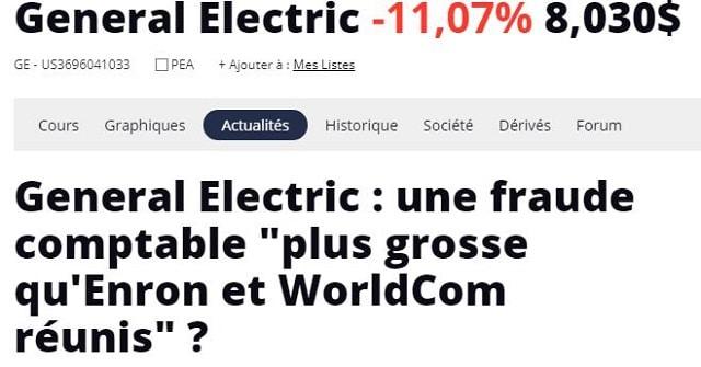 "General Electric: une fraude comptable ""plus grosse qu"