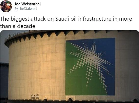 """Warning: Nicolas Chéron: """"Plus importante attaque des infrastructures pétrolières Saoudiennes en 10 ans. Le pétrole pourrait rapidement retrouver les 60/65$ !"""""""