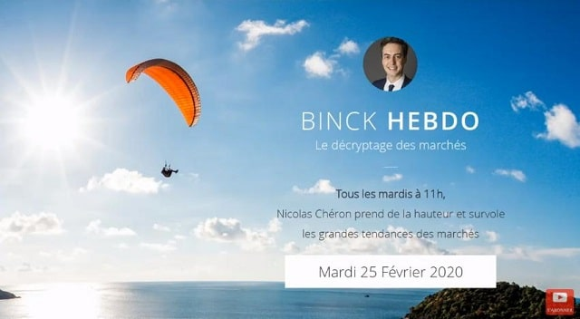 """Nicolas Chéron – Binck Hebdo du Mardi 25 Février 2020:... """"Vendre au son du violon !"""""""