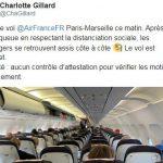 Charlotte Gillard: «Vol Air France Paris-Marseille complet ce matin, les passagers se retrouvent assis côte à côte. Aucun contrôle d'attestation !»