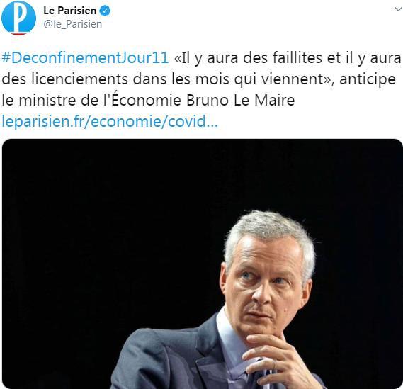 """Bruno Le Maire: """"Il y aura des faillites et il y aura des licenciements dans les mois qui viennent"""""""