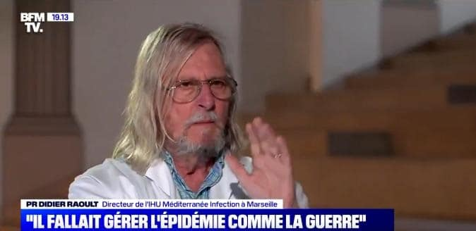 """Pr Raoult à Margaux de Frouville de BFM: chhhhhut... TAISEZ-VOUS ! vous m'avez posé une question, je vous réponds !"""""""