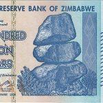 """Grégory Raymond: Planche à billets: """"L'occasion de ressortir ce billet de 100.000 milliards $ zimbabwéens imprimé au début des années 2010 (et qui ne valait pas plus de 5 dollars américains)"""""""