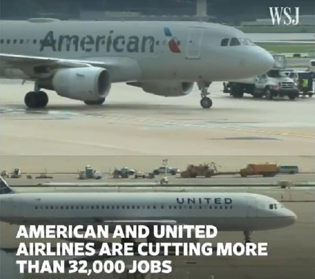 Vague MASSIVE de licenciements aux Etats-Unis. 32 000 emplois supprimés aujourd'hui chez United et American Airlines